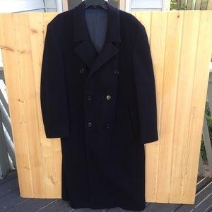 Vintage London Fog 100% Wool Navy Blue Trench Coat